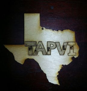TAPVI Laser Etched Texas Shaped badge